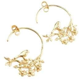 Alex Monroe - Tiny Flowery Bird Hoops