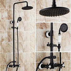 Faucetsmall - Antique Oil-rubbed Bronze Finish 8 Inch Two Handles Brass Shower Faucet - Faucetsmall.com