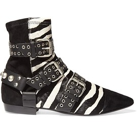 Isabel Marant - Rolling zebra-print calf hair, suede and leather ankle boots