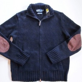 POLO RALPH LAUREN - RALPH LAUREN POLO navy full zip suede elbow patch cardigan