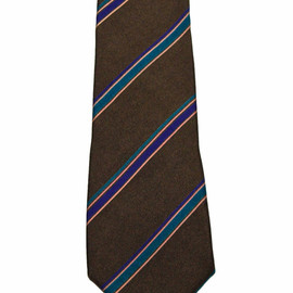 YVES SAINT-LAURENT - Vintage Yves Saint Laurent All Silk Brown Striped Necktie