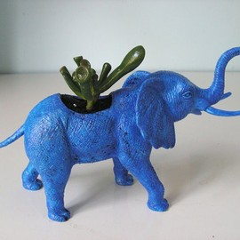 fbstudiovt  - Upcycled blue elephant toy planter eclectic vases