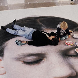 "Gottfried Helnwein working on the ""Head of a Child,"" 1991"