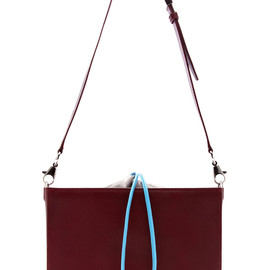 ALEXANDER WANG - Pre-Fall2014 Blood Orange Flat Bucket Bag With Blue Strap