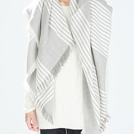 Romwe - Striped Frayed Scarf