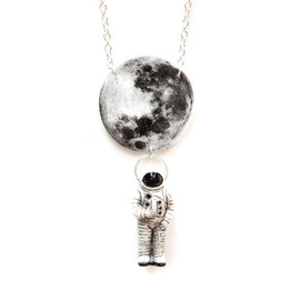 "Tilly Bloom - One Small Step Necklace Astronaut - Silver Plane - Large Size - Illustration Jewelry with 20"" Chain"