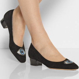 Charlotte Olympia - Eyes For You embroidered suede pumps