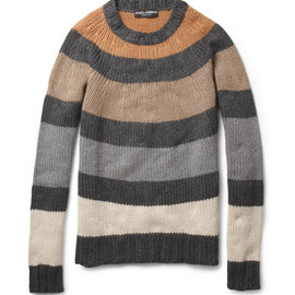 Dolce & GabbanaStriped Knitted Crew Neck Sweater