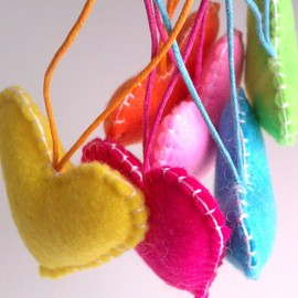 Luulla - Home/Party Hearts Decorations - Vibrant, neon, rainbow, colorful - Set of 6 - Ornaments/favors/decor/gifts