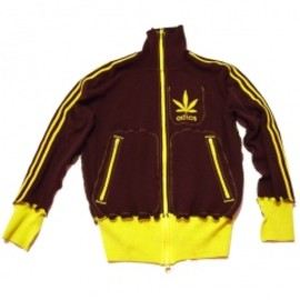 A LOVE MOVEMENT - ALM (Lady's)zip up/brown×yellow(3本ライン)LOVE & PEACE