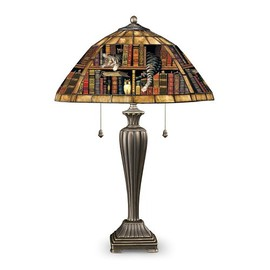 The Bradford Exchange - Charles Wysocki Cat Art Stained-Glass Table Lamp: Purr-fect Catnap by The Bradford Exchange