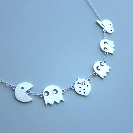 SmilingSilverSmith - PAC MAN & Cheery & Strawberry Necklace - Handmade Sterling Silver Necklace