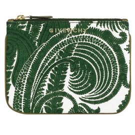 GIVENCHY - PAISLEY printed cotton canvas small zipped pouch with khaki lambskin leather trim.