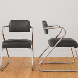 Vintage Art Deco Chrome and Oilcloth Z Chairs