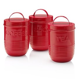 Marks&Spencer - Retro Enamel Tea, Coffee & Sugar Storage Jar Set