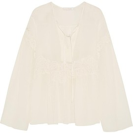Chloé - Lace-appliquéd cotton and silk-blend crépon blouse