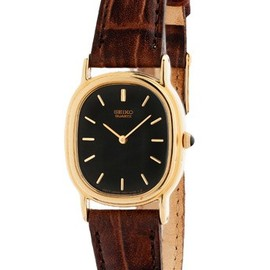 American Apparel - Vintage Seiko Black/Gold Ladies' Leather Band Watch