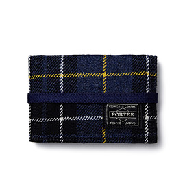 "HEAD PORTER - ""LESSON"" BAND CARD CASE NAVY"