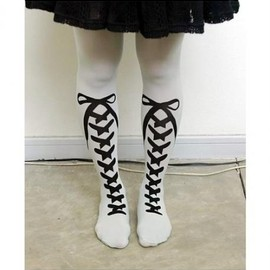 BLANK IS - shoe lace tights