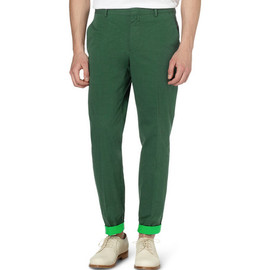 JIL SANDER - Contrast-Lining Cotton-Twill Trousers