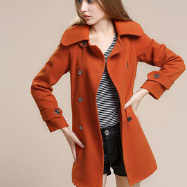 Winter Wool Women Large Size Double Breast Trench Coat Overcoat