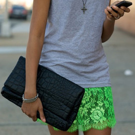 Neon Lace Skirt