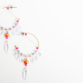 Ostara - Czech Glass Fringe&Orange Pearl Hoop Earrings