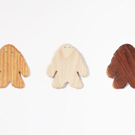 made in west, simple wood product - YETI WOOD BROOCH
