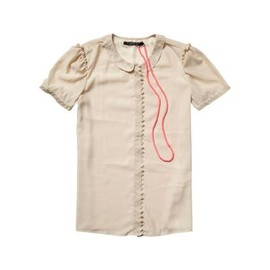 MAISON SCOTCH - Short-sleeved shirt with embroidered collar - butter cup - 2