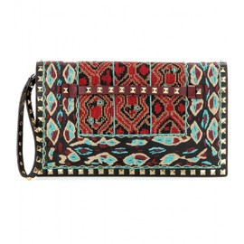 VALENTINO - Rockstud embroidered and bead-embellished leather clutch
