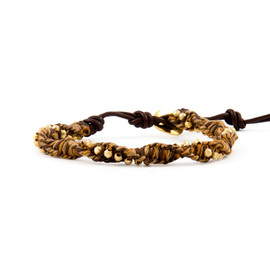 Chan Luu - The Twisted Gold Vermeil Nugget and Brown Mix Single Wrap Bracelet
