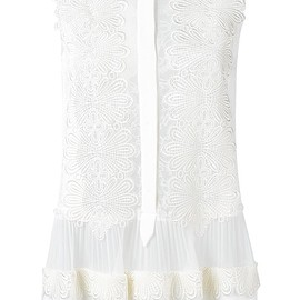 Alberta Ferretti - sheer crochet embroidery blouse