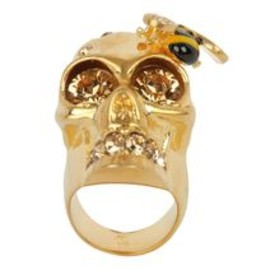 Alexander McQueen - Gold/Amber Crystal Bee and Skull Cocktail Ring
