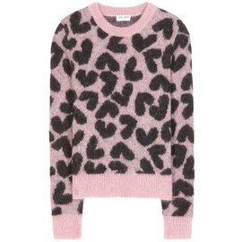 Saint Laurent - HEART-INTARSIA CROPPED MOHAIR-BLEND SWEATER