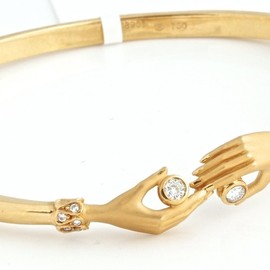CARRERA y CARRERA - 18k Yellow Gold & Diamond Hands Bangle Bracelet