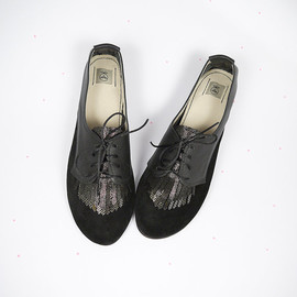 elehandmade - The Fringed Oxfords in Black - Italian Handmade Leather Flat Shoes