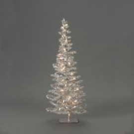Kurt S. Adler - PRE-LIT SILVER TINSEL TREE WITH 72 TIPS, 35/L CLEAR LIGHTS AND 16 IN GIRTH
