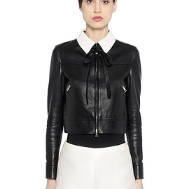 VALENTINO - Pre-Fall 2015 CONTRASTING COLLAR NAPPA LEATHER JACKET