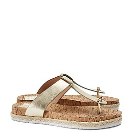 TORY BURCH - CORK-FOOTBED METALLIC FLAT THONG SANDAL