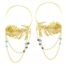 Alex Monroe - Large Peacock Hoops