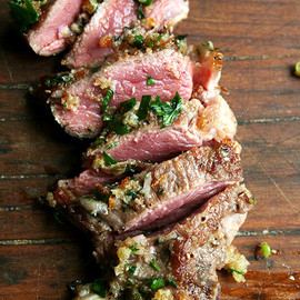 Pan-Seared Lamb Chops with Toasted Bread Crumb Salsa