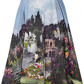 Alice + Olivia - Audrey printed cotton-blend midi skirt