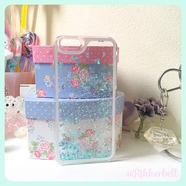 plamode - Glitter Heart Pastel iPhone case Blue