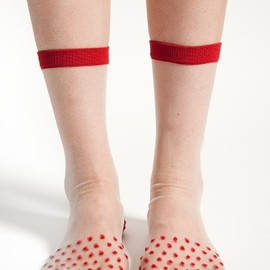 Hansel from Basel - Rachel Comey x Hansel Basel Sheer Dotted Red Socks