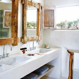 lavatory with wood