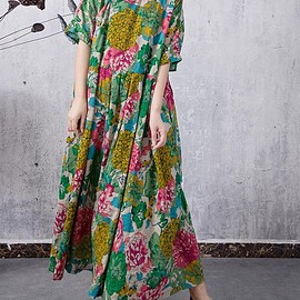 women green dress - Summer long maxi dress cotton large size women green dress