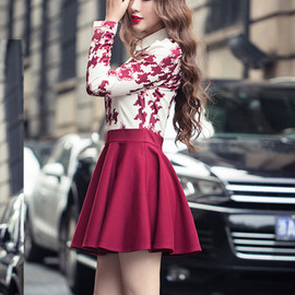 Sweet POLO Collar Houndstooth Long Sleeve Dress