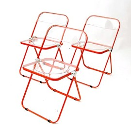 Castelli - Folding-chairs Plia / red lackered metal frame with transparant plastic seat