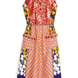 MARC JACOBS - Stripe Tweed Dress With Floral Panels