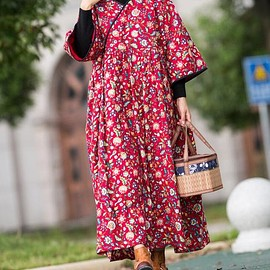 Winter Dresses, Winter coat robe - Red floral dress, Cotton Long Maxi dress, Winter Dresses, Winter coat robe